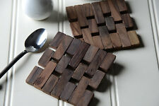 Set of 8 Naturals Slatted Dark Wood Coasters by Creative Tops