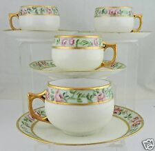 ANTIQUE TEA/COFFEE CUP SAUCER SET PINK ROSE GARLAND GOLD GERMANY 8 PC