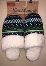 NEW Womens Dearfoams Memory Foam/Fur Lined Mule Slippers Size XL 11-12