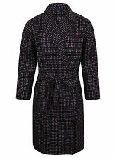 Men's Lightweight Cotton Dressing Gown, Navy Diamond Print (sizes available)