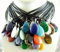 Natural Gem Water drops Pointed Reiki Chakra Pendant Charm Leather Necklace