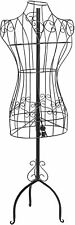 Designers Black Metal Adjustable Height Wire Frame Dress Form Display Stand