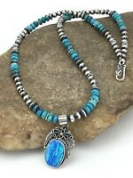 """Navajo Sterling Silver Blue Turquoise Necklace Opal Pendant 19"""" 1269"""