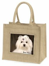 More details for maltese dog 'yours forever' large natural jute shopping bag christmas, ad-m1ybln
