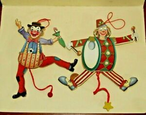 2 Wooden Pull String Jointed Jumping CLOWN CHRISTMAS TREE ORNAMENTS - set #2