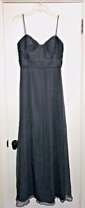 Amsale Women's Formal Dress Grey Size 6 Crinkled Chiffon Empire Gown $310