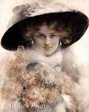Young Woman a with Black Hat Holding Flowers by Edouard Bisson - 8x10 Print 2267