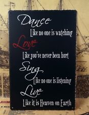 Dance Love Sign Live Poster Home Pub Wall Decor Vintage Metal Tin Signs Bar