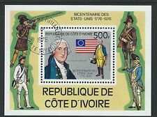 Ivory Coast Sc#426 S/S MNH 1976 Washington, US Flag