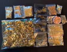 Gold Toned Misc Jewelry Craft Making Junk Lot 2801