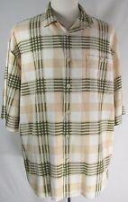 TRUST Mens Linen Dress Button Down Shirt Short Sleeve Size 2XL Beige Green Plaid