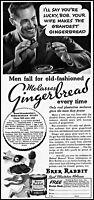 1936 man eating gingerbread Brer Rabbit molasses vintage photo print Ad ads15