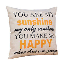 "Hot ""You are my Sunshine ""Cotton Linen Leaning Cushion Throw Pillow Covers Case"