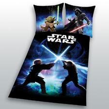 Bettwäsche glatt Star Wars 8 Schwertkampf Rey Finn Tico Yoda 135 x 200 NEU WOW