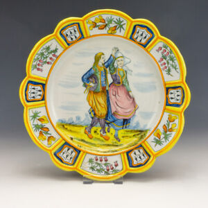 Antique Quimper French Faience - Hand Painted Dancing Couple Plate - Early!