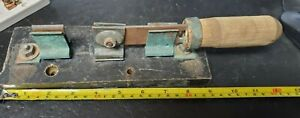 """Vintage Very Large SPDT 50A? 125V Knife Switch copper contact wood handle 12""""OAL"""