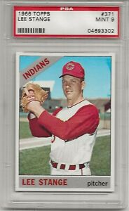 1966 TOPPS #371 LEE STANGE, PSA 9 MINT, ONLY 8 HIGHER, CLEVELAND INDIANS, L@@K !