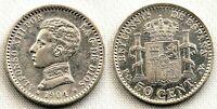 SPAIN-Alfonso XIII. 50 centimos 1904*1-0 Madrid. EBC-/XF-. Plata 2,5 g.