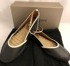 NIB $425 Giorgio Armani Leather Women's Black Ankle Strap Flats 12 US X1S010