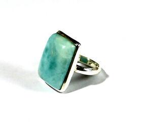 Lovely Natural Light Blue Larimar .925 Sterling Silver Ring #8
