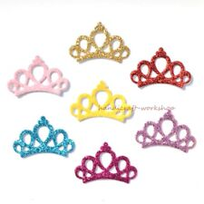 80Pcs Mixed Glitter Leather Crown Patches Sewing on Applique for Craft/Clothes
