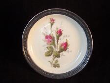Vintage Rosenthal  Moss Rose Sterling Silver Rimmed Porcelain Coaster/ Plate