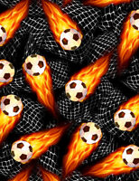 Flaming Soccer Balls C8047 Black Timeless Treasures Durable Cotton Fabric