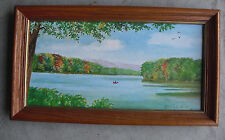 Vintage Blanche Knapp Oil Painting of Susquehanna River NY Framed