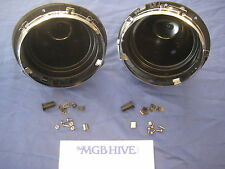 "PAIR 7"" Plastic Headlamp Headlight Bowl Bucket KIT MG MINI TRIUMPH LAND ROVER"