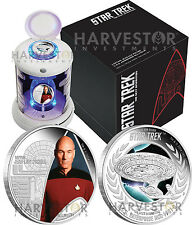 2015 CERTIFIED SILVER STAR TREK TWO COIN SET - TRANSPORTER PACKAGING - PICARD