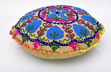 Suzani Round Pillow Cover Indian Boho Throw Cushion Cover Embroidery with PomPom