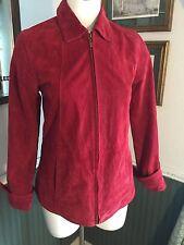 COLDWATER CREEK Womens Red Suede Leather Blazer Jacket Zip Up Coat Sz XS