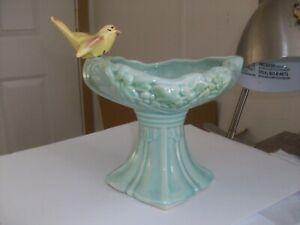 Vintage McCoy Aqua Bird Bath Pedestal Planter Vase Pottery - Yellow Bird