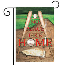 "No Place Like Home Spring Garden Flag 12.5"" x 18"" Baseball Bats Briarwood Lane"