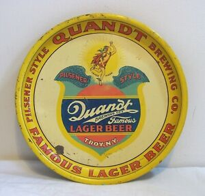 """RARE Antique Quandt Lager Beer Tray 13-1/4"""" Pie  Troy NY - VINTAGE NOT A REPRO"""