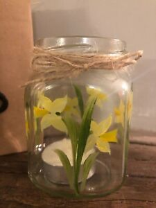 Individually hand painted Daffodil Vintage tea light holder/vase