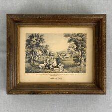 "Vintage Currier & Ives  Framed ""The Four Seasons of Life: Childhood"" Engraving"