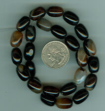 CLEARANCE 11 INCH STRAND OF BRAZILIAN AGATE BARREL BEADS DEEP RICH COLOR NATURAL