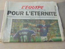 Journal l'équipe 13 juillet 1998 POUR L'ÉTERNITÉ FRANCE-BRÉSIL CHAMPION DU MONDE