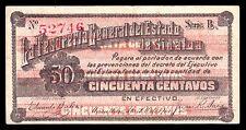 La Tesoreria Gral. del Estado de Sinaloa 50 Centavos 2.25.1914 M3756c / SI-SIN-9