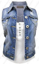 NEU DENIM Weste Jacke Damen Jeans Weste Jacken Size 8 10 12 14 16 Blau