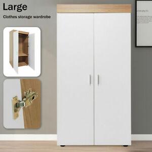 2 Door Double Wardrobe Bedroom Furniture Large Storage Cupboard Wooden Two Layer