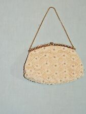 1950's Jolles Original Beaded Evening Purse w Large Rhinestone Frame EUC