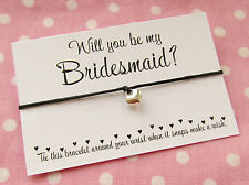 Will You Be My Bridesmaid? Heart Charm Wish Friendship Bracelet Gift & Envelope