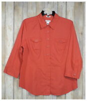 Women's LIZ & CO Orange White Stretch 3/4 Sleeve Button Blouse Top Shirt Size XL