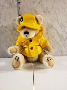 Original Brass Button Bear Harper Stuffed Teddy In Yellow Rain Coat With Tag.