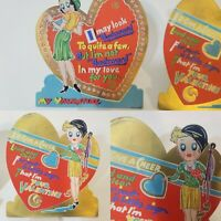 Lot of 2 VTG Valentines Cards Germany Flappers Hearts Clean 6 X 6 Clean
