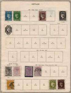 CEYLON/CAYMAN ISLANDS: 1857-1912 - Ex-Old Time Collection - 2 Sides Page (38213)