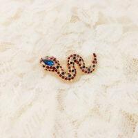 Elegant Gold Women's Men Animal Snake Blue Rhinestone Crystal Insect Brooch Pins