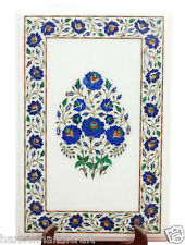 """20""""x13"""" White Marble Coffee Corner Table Top Real Lapis Inlaid Mosaic Work H2284"""